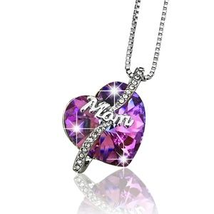 Jewelry - Mom Crystal Heart Pendant (Made with Swarovski)